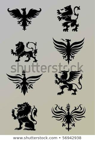 heraldic lions and eagles set stock photo © genestro