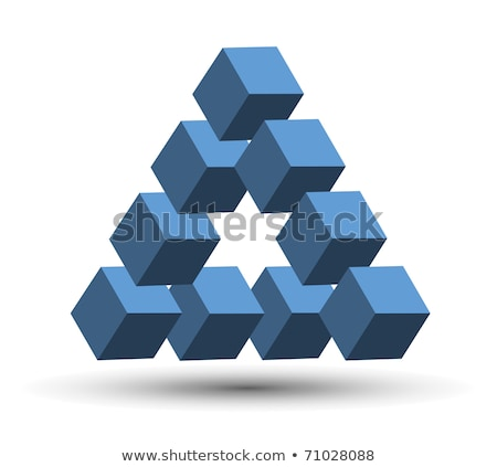 Abstract blue business symbol with 3 cubes Stock photo © MONARX3D