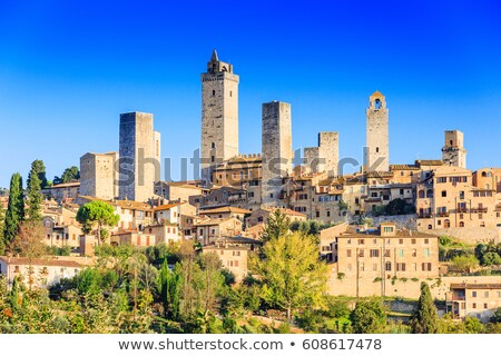 Piazza del Duomo Medieval Stone Towers San Gimignano Tuscany Ita Stock photo © billperry