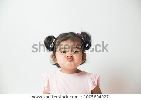 Stock fotó: Kislány · készít · arcok · hosszú · haj · padló · izolált
