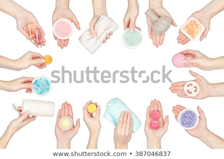 woman hands holding bath ball Stock photo © dolgachov