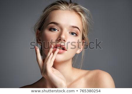 seksi · sarışın · kadın · mayo · güzel · poz · kırmızı - stok fotoğraf © konradbak