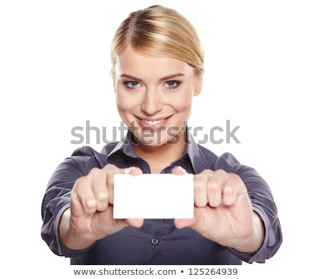 woman holding blank businesscard Stock photo © chesterf