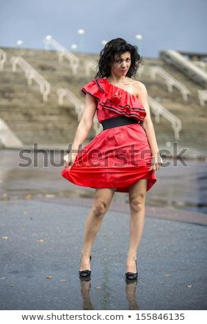 mokro · opalony · pretty · woman · czerwony · bikini - zdjęcia stock © vetdoctor