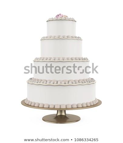 Büyük düğün pastası dekore edilmiş çiçekler gıda düğün Stok fotoğraf © smuki
