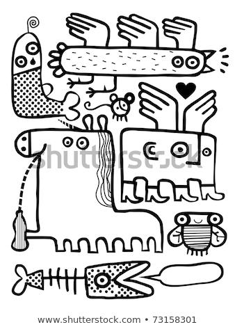 Ingesteld weird huisdieren cartoon illustratie menselijke Stockfoto © adrian_n