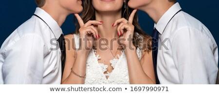 Egy lány fiatal lány pózol fotó modell szemüveg Stock fotó © jarp17