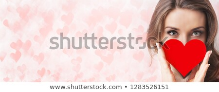hands hold a many red hearts on white background Stock photo © inxti