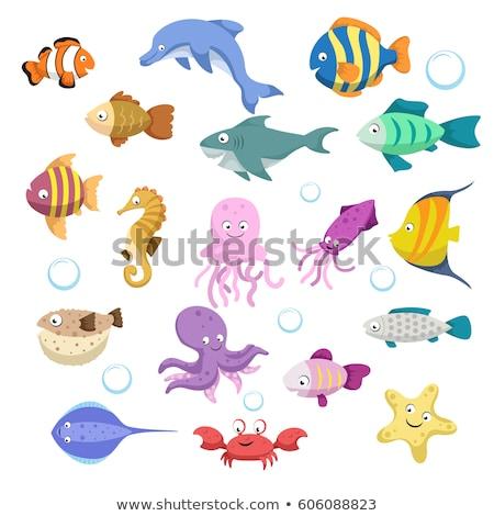 魚 · 漫画 · かわいい · 笑みを浮かべて · 子供 · 自然 - ストックフォト © aminmario11