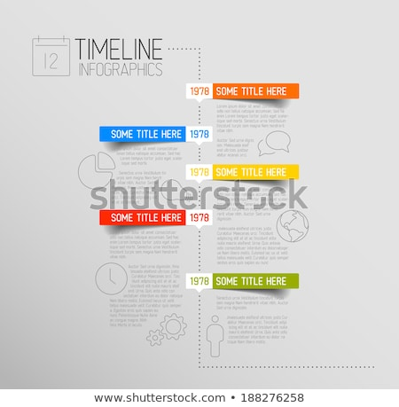 Infographic timeline report template with rounded labels Stock photo © orson