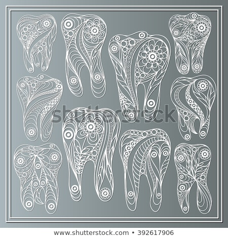 зубов цветочный стиль изолированный белый медицинской Сток-фото © anbuch
