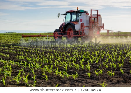 Stock photo: In spring, the corn is sprayed on the tractor.
