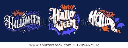 boldog · halloween · felirat · csontváz · ősz · kalap - stock fotó © voysla