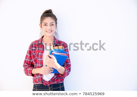 Portrait of a girl teenager with her books on white  Stock photo © manaemedia