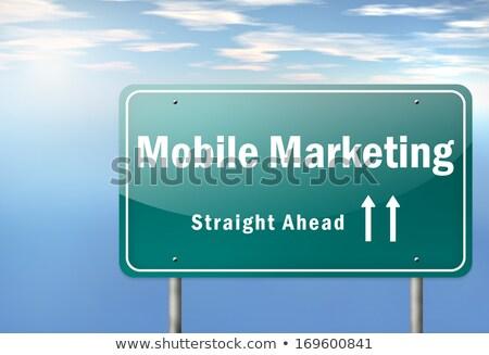 Stock fotó: Mobil · marketing · autópálya · útjelző · tábla · út · háttér