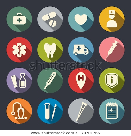 set colorful medical icons for web design stock photo © smeagorl
