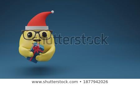 Emoticon christmas aanwezig 3d render Rood witte Stockfoto © mariephoto