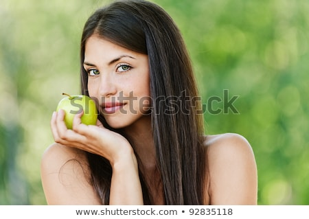 привлекательный голый женщину зеленый яблоко Сток-фото © dash