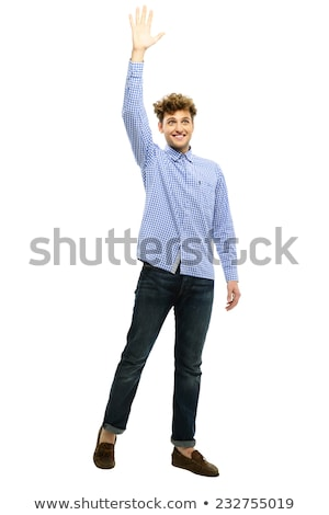 Portrait of a man waving his hand over white background Stock photo © deandrobot