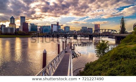 Portland Oregon Downtown City Skyline Reflection Willamette Rive Stock photo © cboswell