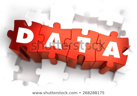 data   white word on red puzzles stock photo © tashatuvango