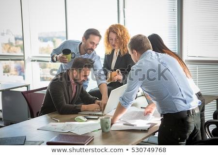 iş · ekibi · çalışma · vektör · iş · kadını · dizüstü · bilgisayar · takım - stok fotoğraf © voysla