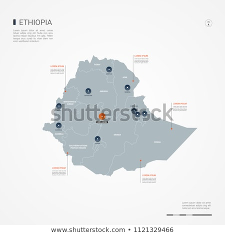 orange button with the image maps of button Ethiopia Stock photo © mayboro