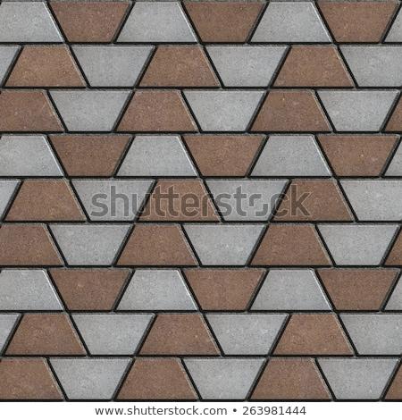 Gray-Brown Paving Slabs in the Form Trapezoids. Stock photo © tashatuvango