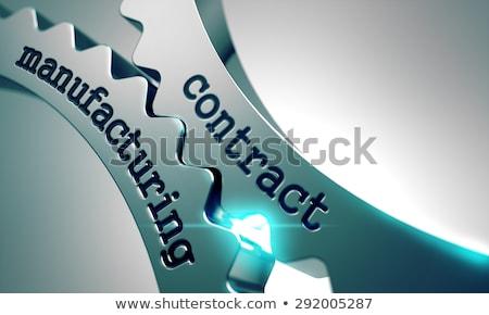 Foto stock: Contrato · fabrico · metal · engrenagens · preto · negócio