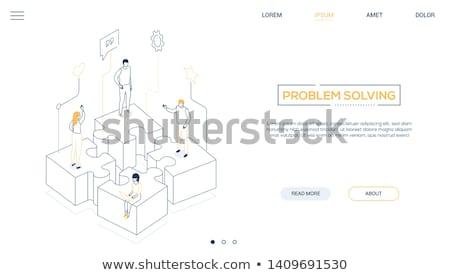 3d ember csapat puzzle fehér felső szög Stock fotó © nithin_abraham
