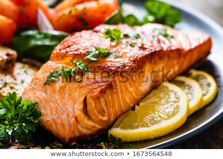 Roasted Salmon and Vegetables Stock photo © zhekos