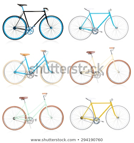 collection of stylish colorful hipsters bicycle isolated on whit stock photo © vlad_star