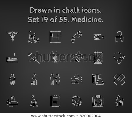 Stock photo: Microbes on the palm icon drawn in chalk.