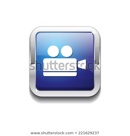 Caméra bleu vecteur icône bouton web Photo stock © rizwanali3d