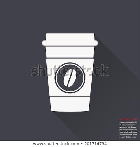 Projektu gorący napój kubek ikona długo cień Zdjęcia stock © Elsyann