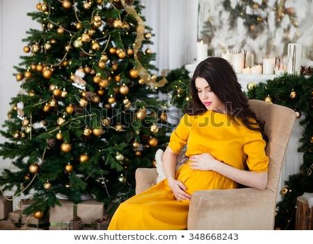 retrato · belo · mulher · grávida · vestido · vermelho · vestido · branco · florescimento - foto stock © prg0383