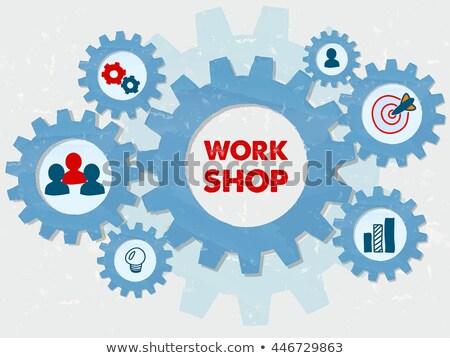 Workshop And Education Symbols In Grunge Flat Design Gears Infog Stockfoto © marinini