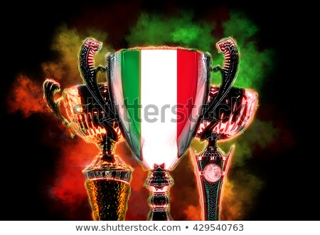 trophy cup textured with flag of italy digital illustration stock photo © kirill_m