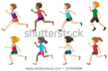 Faceless group of kids running Stock photo © bluering