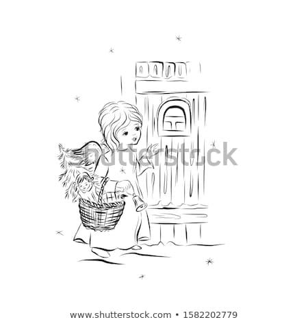 angyal · gyermek · tart · ajándék · lány · visel - stock fotó © lovleah
