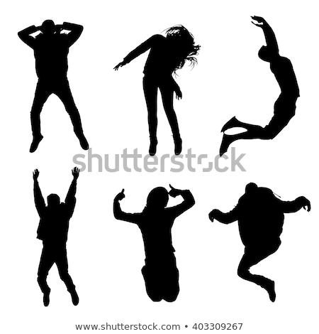 Garçon silhouette sautant posent eps 10 Photo stock © Istanbul2009