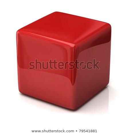 3d business cube red white Stock photo © dariusl