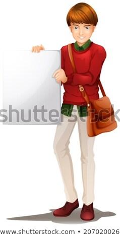 Férfi csúzli táska tart üres illusztráció Stock fotó © bluering