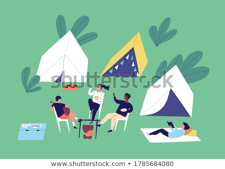 Book with tent in the campground Stock photo © bluering