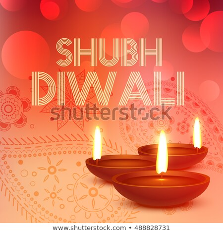 subh diwali background with diya in red color Stock photo © SArts