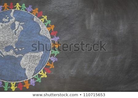 Stockfoto: Onderwijs · groene · schoolbord · doodle · iconen