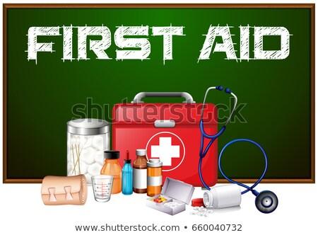 Eerste hulp woord boord verschillend uitrusting uitrusting Stockfoto © bluering