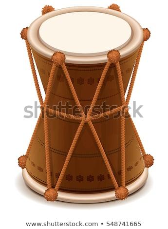 インド ダブル 木製 ドラム 孤立した 白 ストックフォト © orensila
