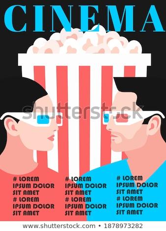Kina popcorn stereo okulary oglądać film Zdjęcia stock © popaukropa