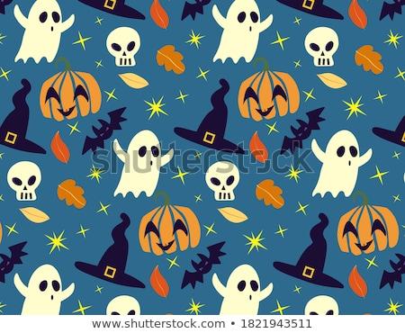 Stok fotoğraf: Halloween Seamless Pattern Vector Illustration 31 Of October Ho